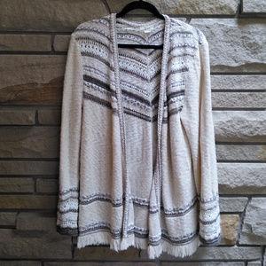 Style & Co Cardigan Sweater Cream Boho Fringe XL